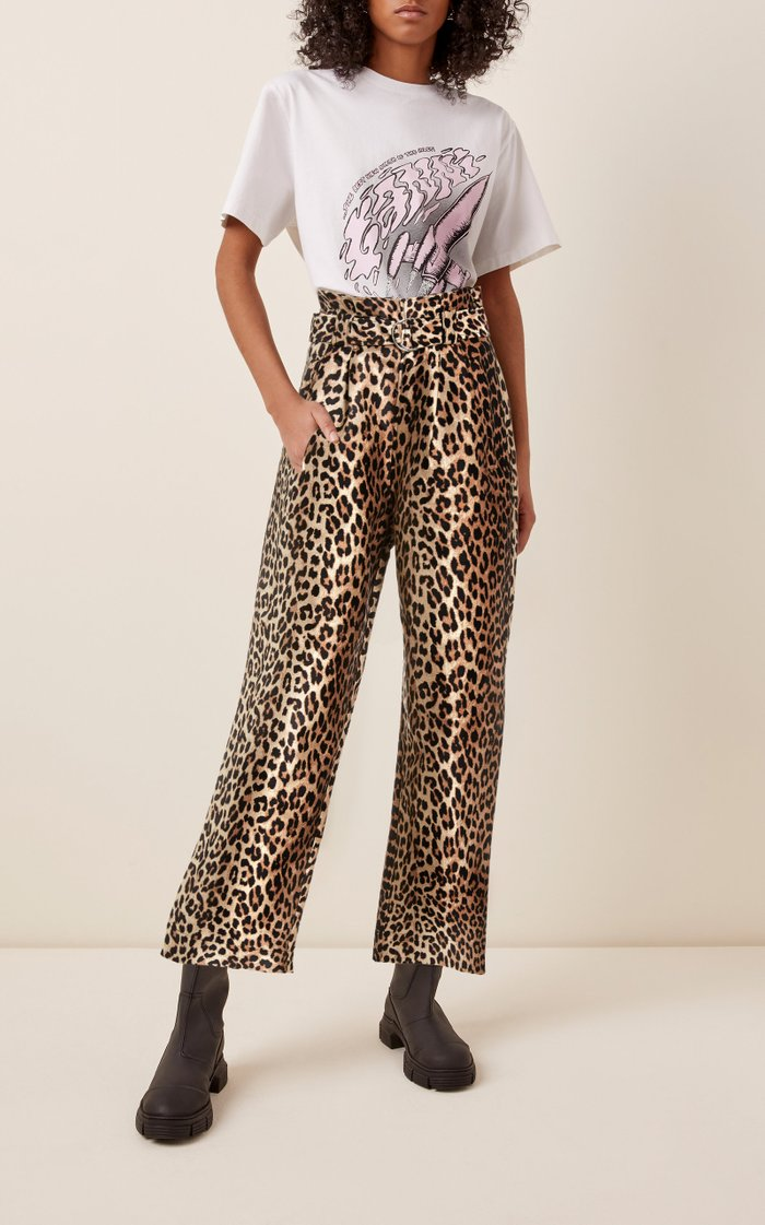 Belted Jacquard Wide-Leg Pants