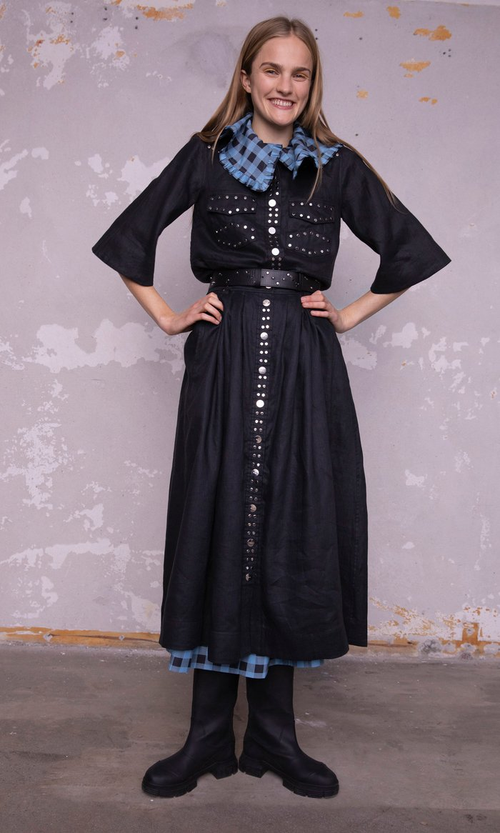 Printed Smocked Cotton-Blend Midi Dress