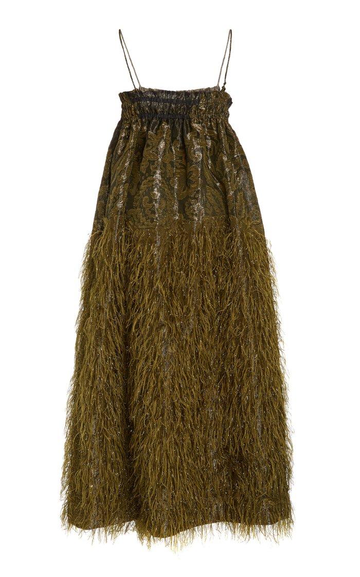 Feather-Embellished Jacquard Midi Dress