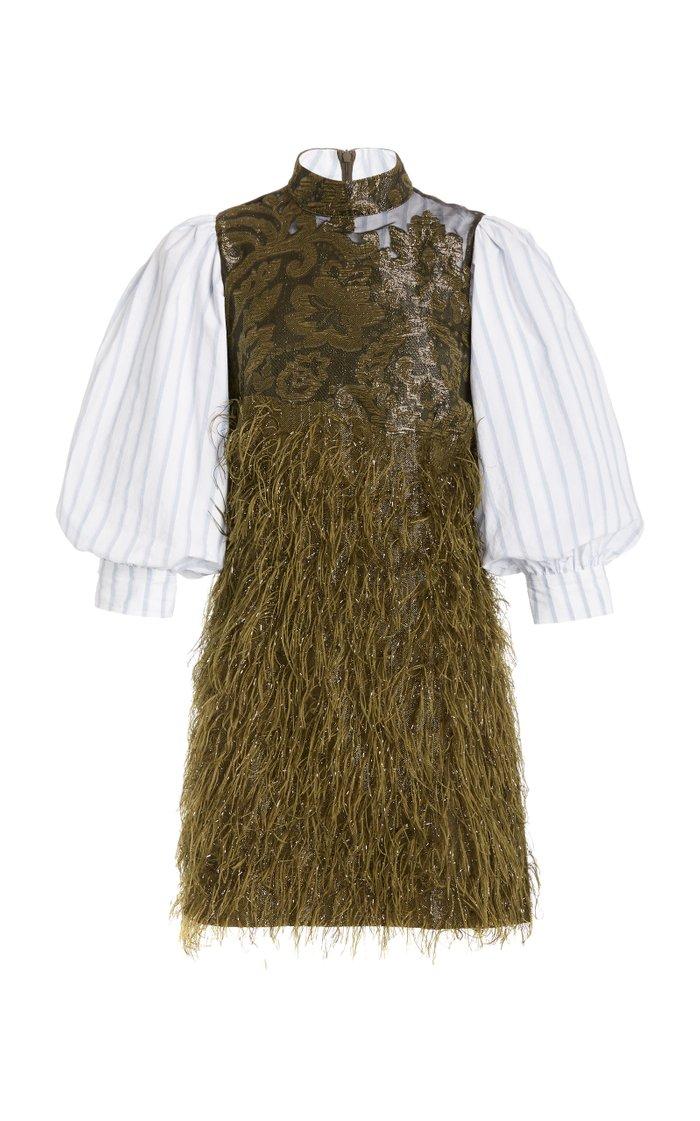 Feather-Embellished Jacquard-Paneled Cotton-Poplin Mini Dress