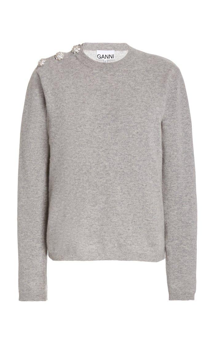 Crystal-Embellished Cashmere Knit Sweater