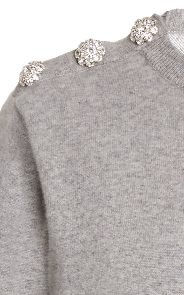 Crystal-Embellished Cashmere Knit Sweater