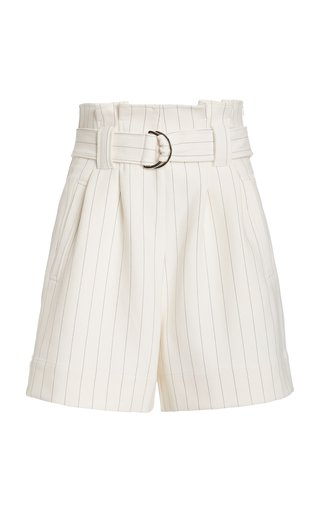 Belted Checked Woven Shorts