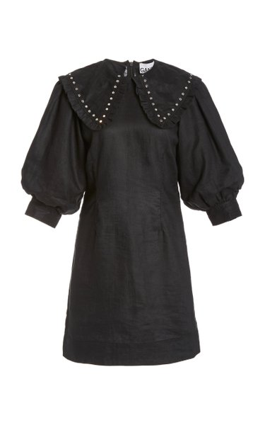 Studded Linen Mini Dress