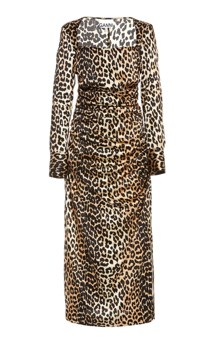 Leopard-Print Silk Satin Midi Dress