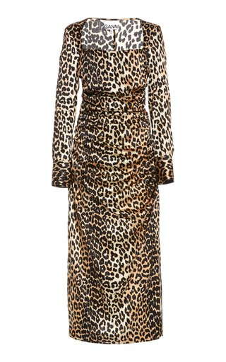 Leopard-Print Silk Satin Midi Dress