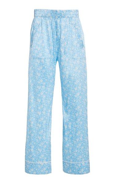 Printed Silk-Satin Straight-Leg Pants