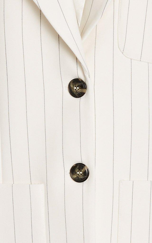 Pinstriped Woven Blazer