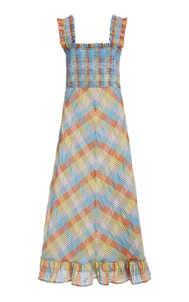 Seersucker Plaid Cotton-Blend Midi Dress