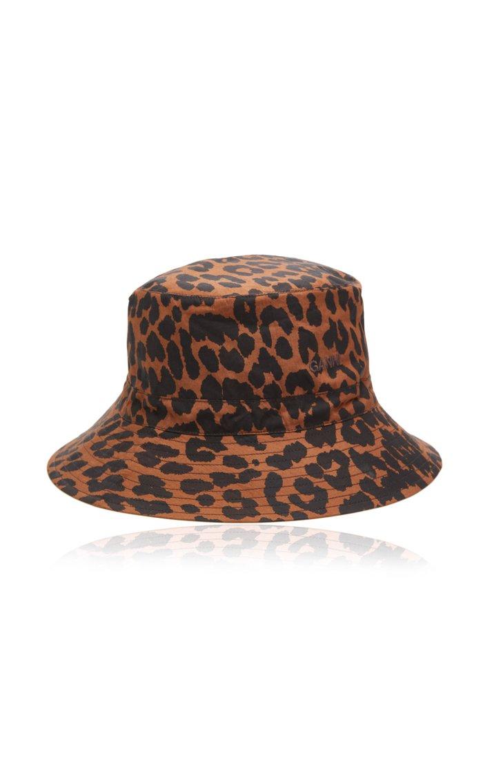 Leopard-Print Cotton Poplin Bucket Hat