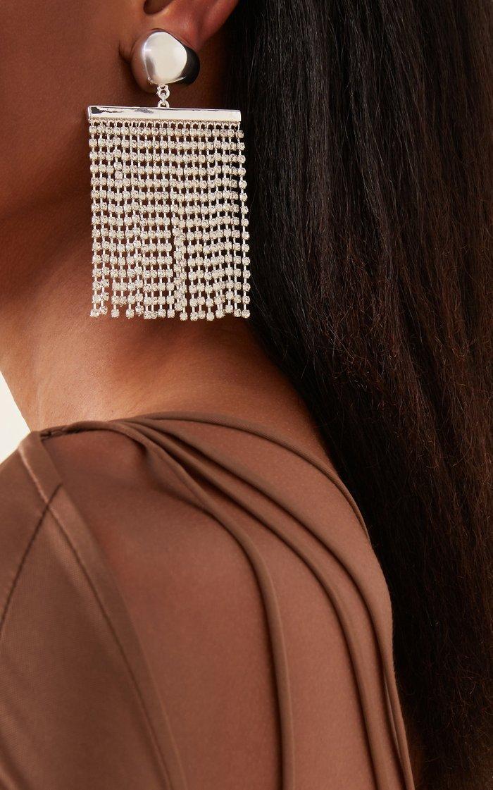 Farrah Silver-Tone And Rhinestone Earrings