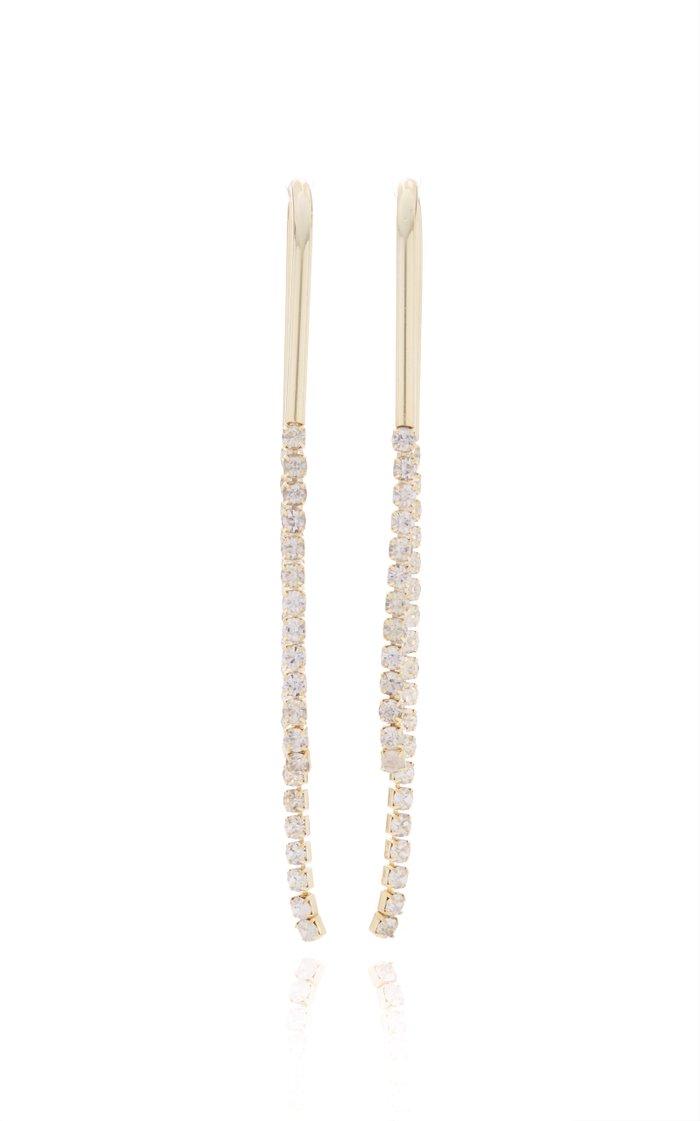 Meta Gold-Tone And Rhinestone Earrings