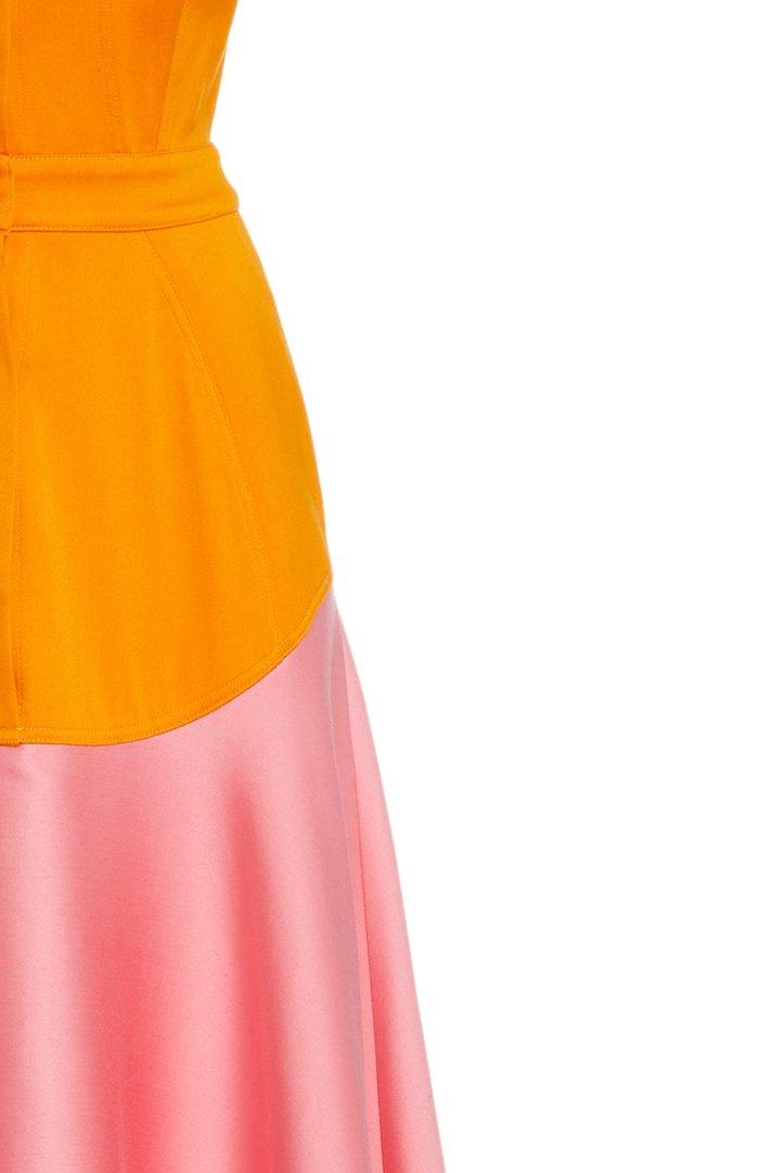 Exclusive Satin-Paneled Cotton Maxi Dress