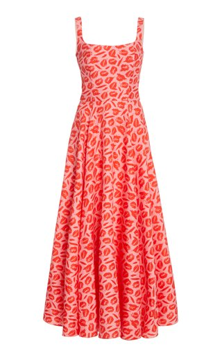 Printed Pleated Silk Maxi Dress