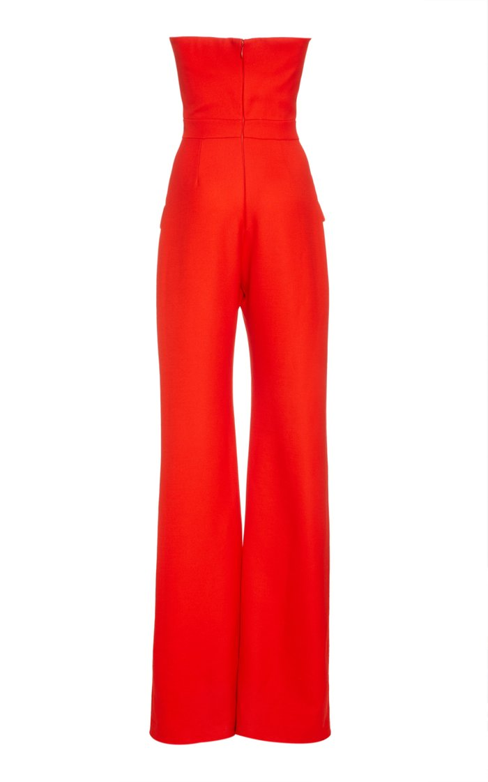 Strapless Wide-Leg Crepe Jumpsuit