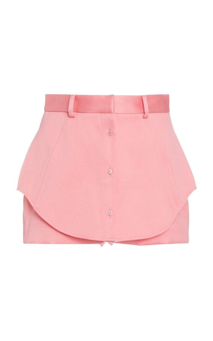 Satin-Trimmed Paneled Cotton Mini Shorts