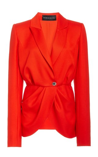 Pleated Cady Peplum Blazer