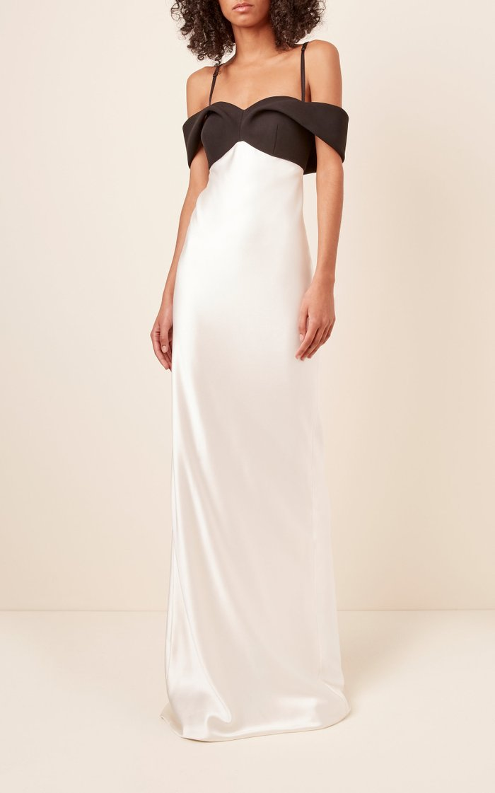 Off-The-Shoulder Two-Tone Silk-Blend Gown