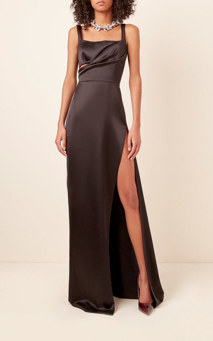 Gathered Cutout Silk-Satin Gown