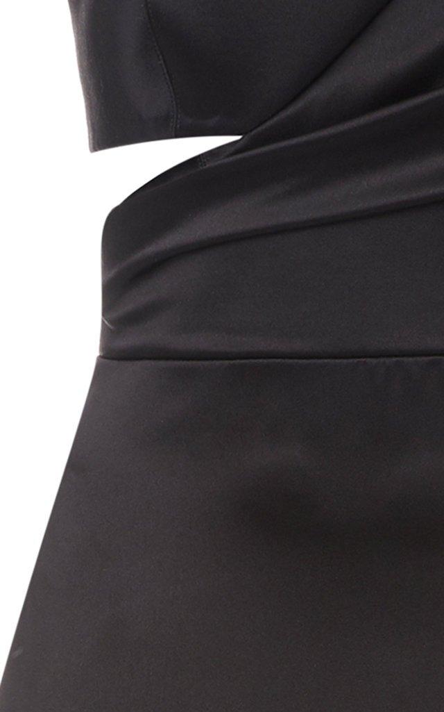 Gathered Cutout Silk-Satin Gown