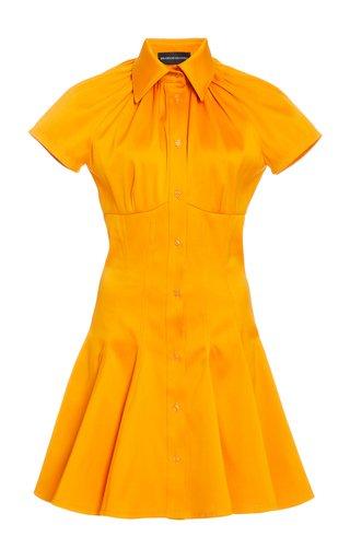 Exclusive Shirred Collar Cotton Mini Shirt Dress