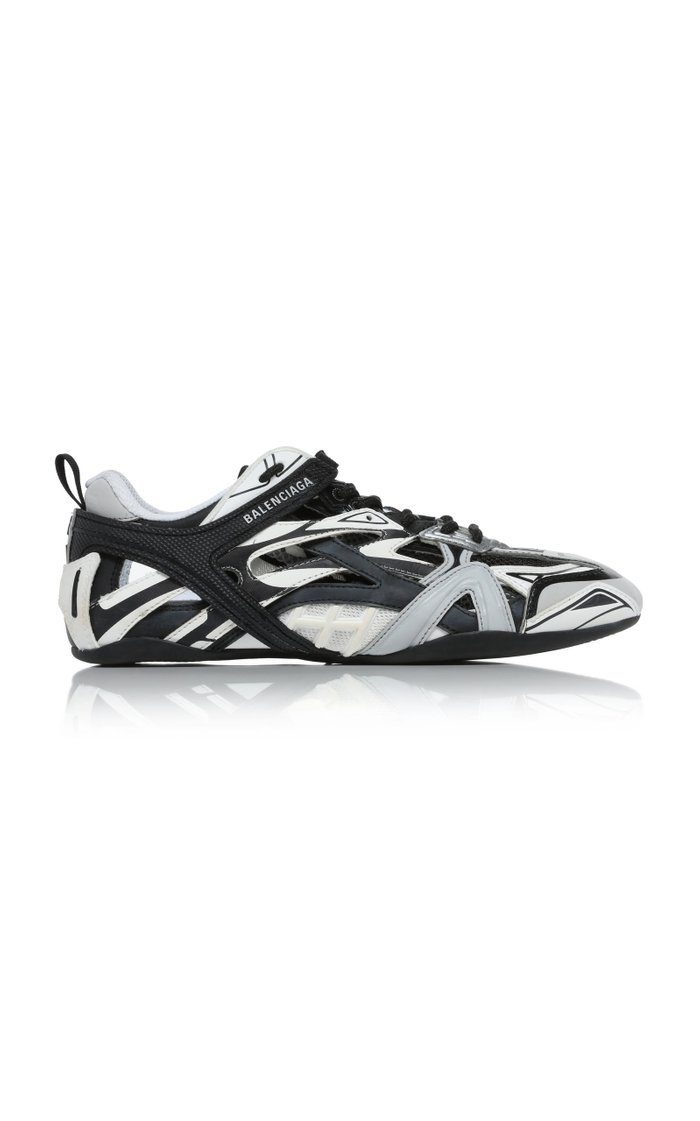 Drive Mesh-Inset Rubber and Leather Sneakers