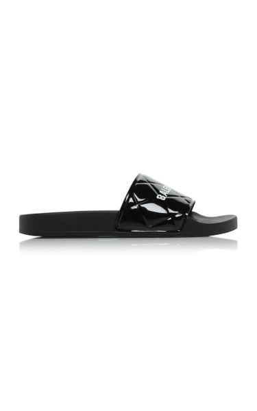 Logo-Printed Quilted Faux Patent Leather Pool Slides