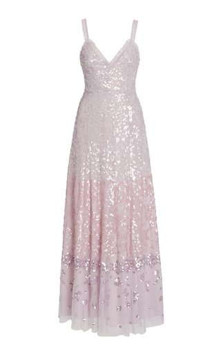 Ruffled Sequin-Embellished Tulle Gown