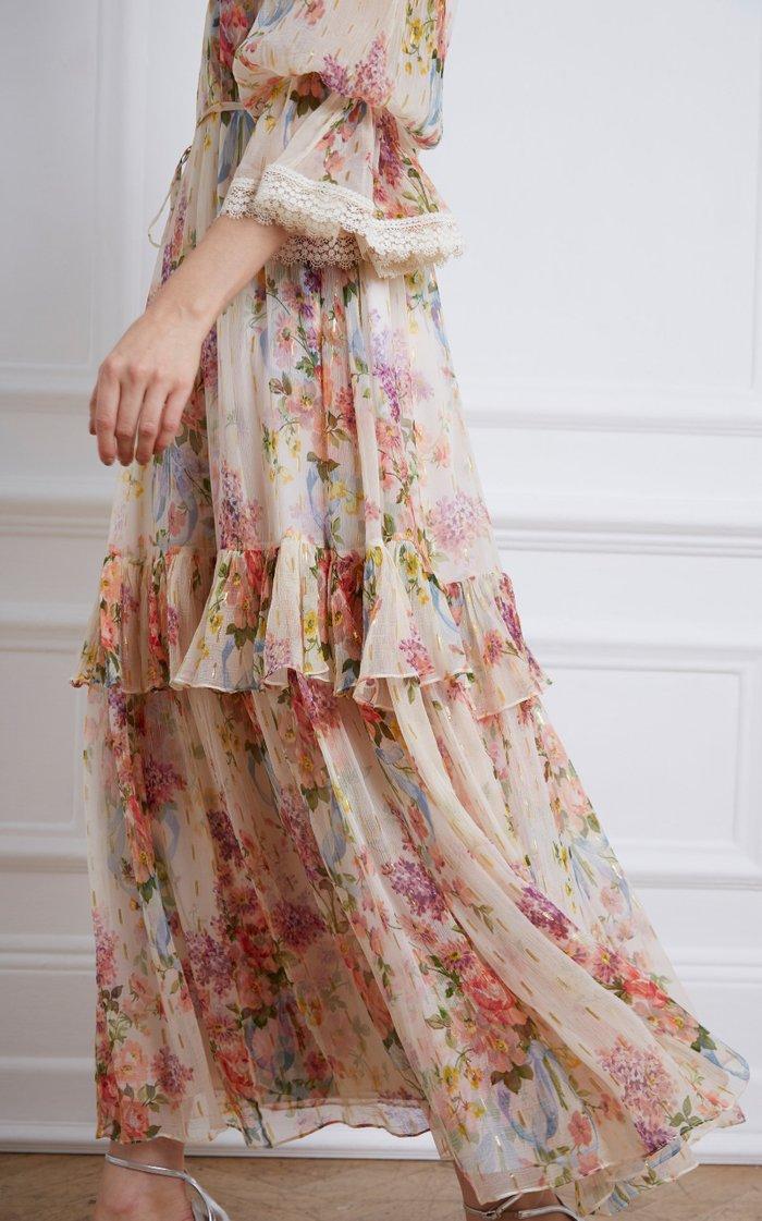 Floral Diamond Chiffon Gown