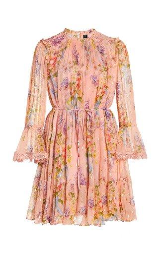 Floral Diamond Chiffon Mini Dress