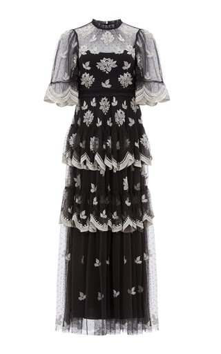 Amber Petal Embellished Tulle Gown