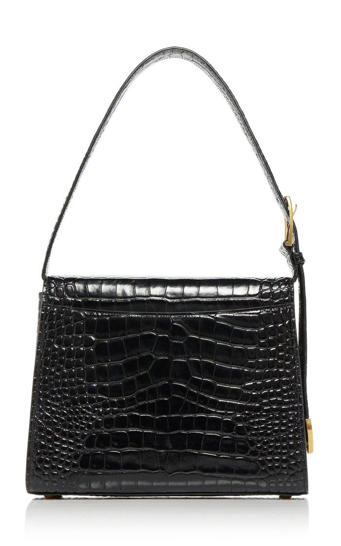 Ghost Printed Croc-Effect Leather Shoulder Bag