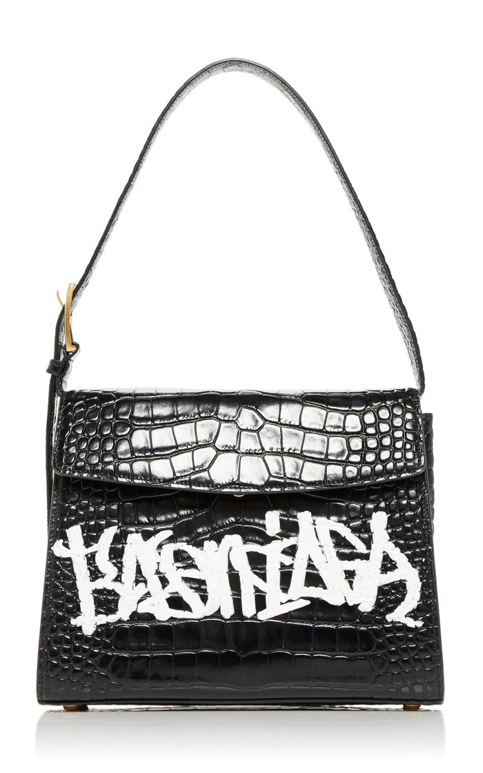 Ghost M Graffiti Croc-Effect Leather Bag