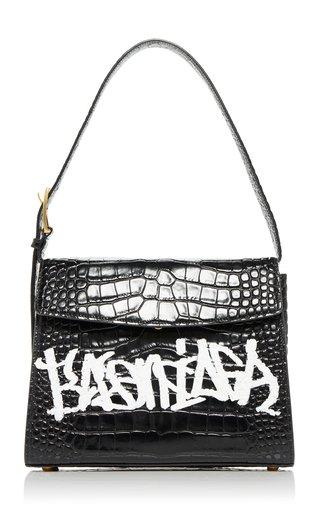 Ghost M Graffiti Croc-Effect Leather Bag