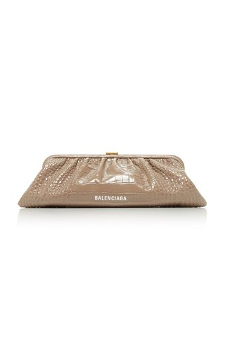Cloud XL Croc-Effect Leather Clutch