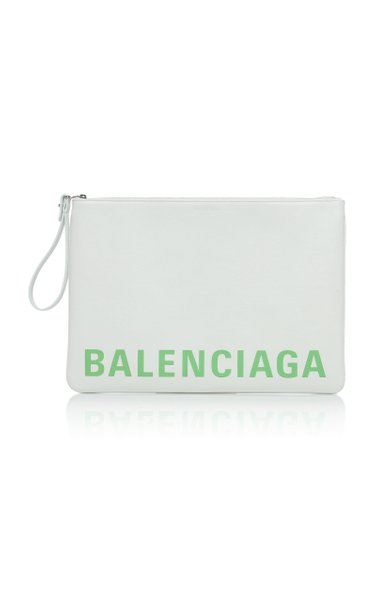 Printed Textured-Leather Pouch