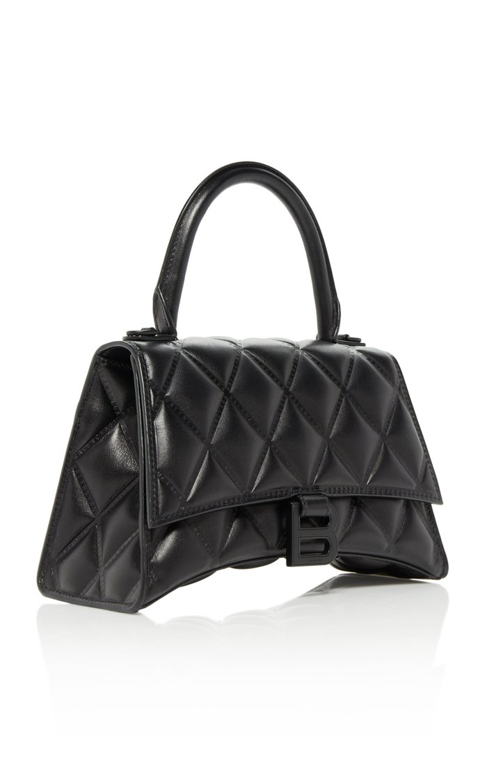 Hourglass Embellished Quilted-Leather Top Handle Bag