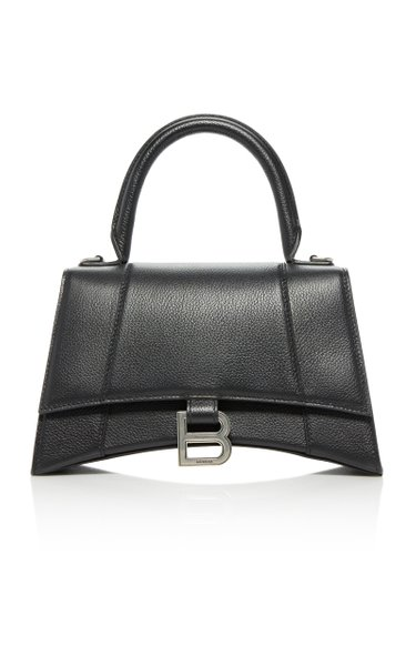 Hourglass Embellished Textured-Leather Top Handle Bag