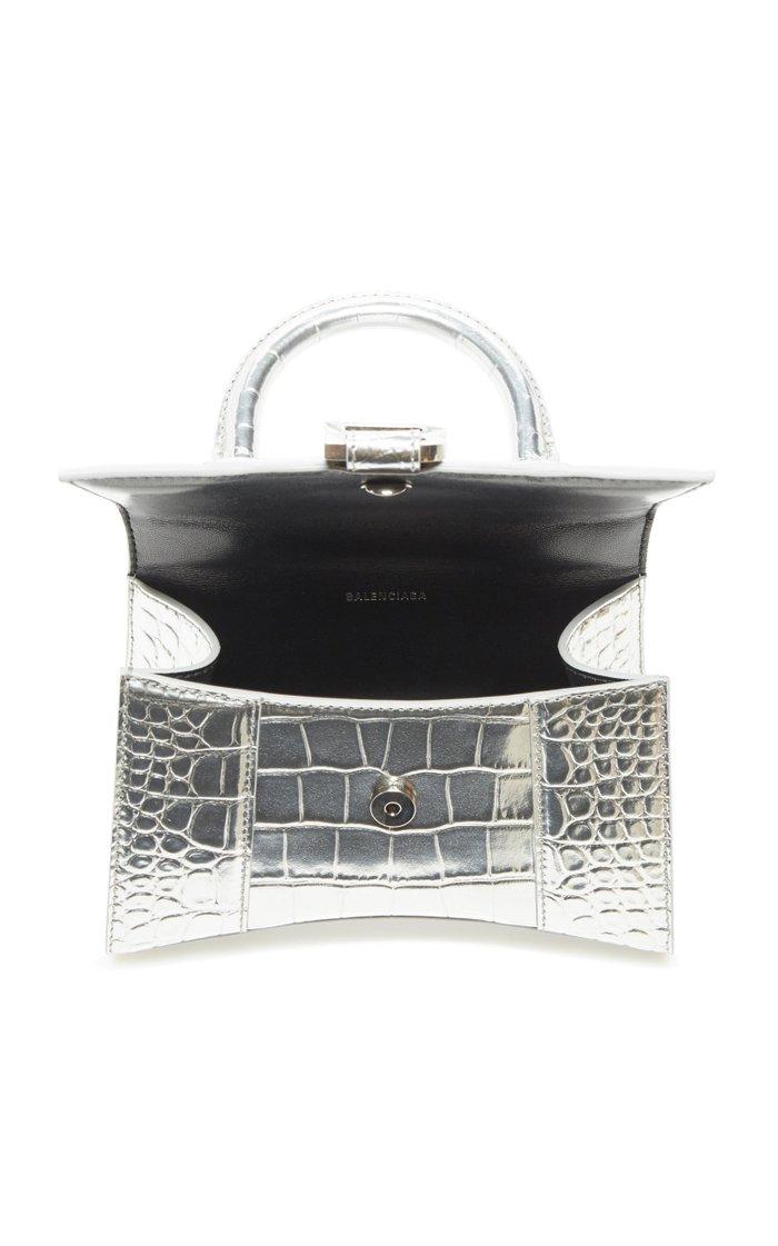 Hourglass XS Metallic Croc-Effect Leather Bag