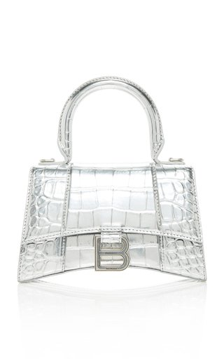 Hourglass XS Metallic Croc-Effect Leather Bag