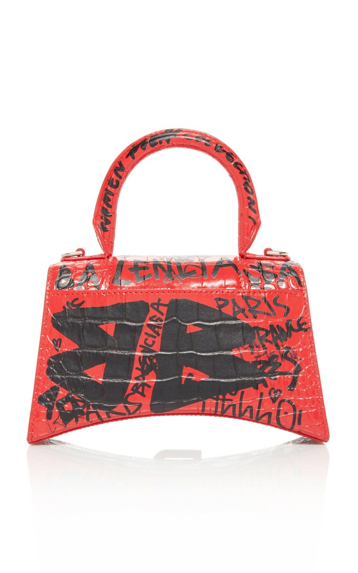 Hourglass XS Graffiti-Print Leather Bag
