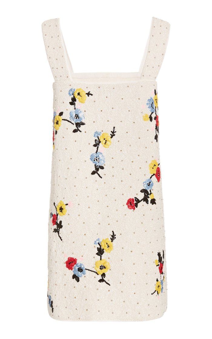 Beaded Crepe Mini Dress