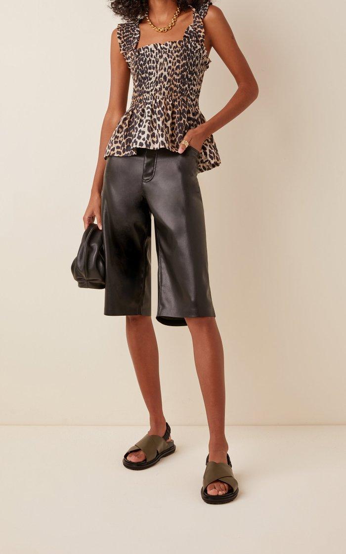 Leopard-Print Cotton-Silk Top