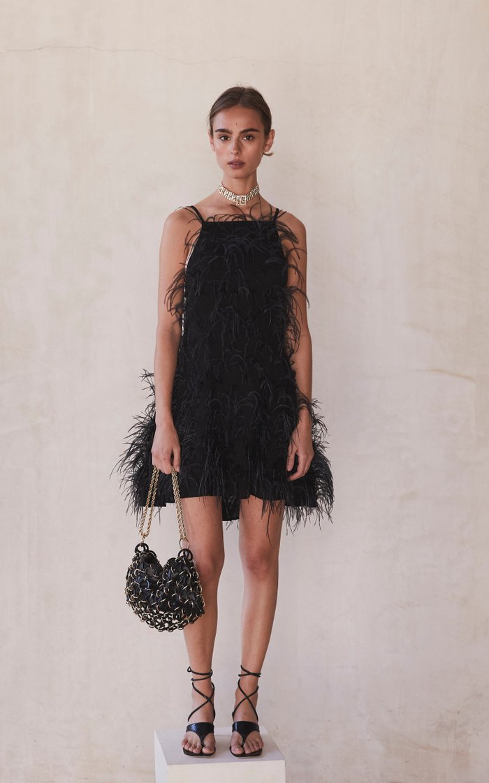 Shannon Feather-Embellished Jersey Mini Dress