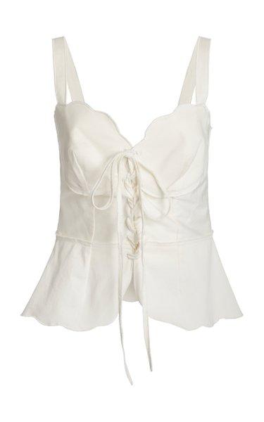 Shari Tie-Detailed Cotton-Blend Top