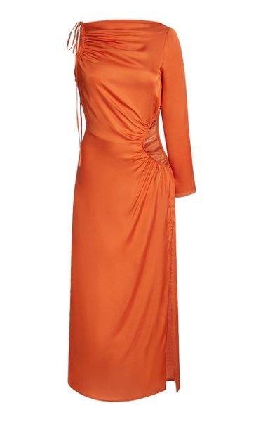 Cyn Cutout Tie-Detailed Satin Midi Dress