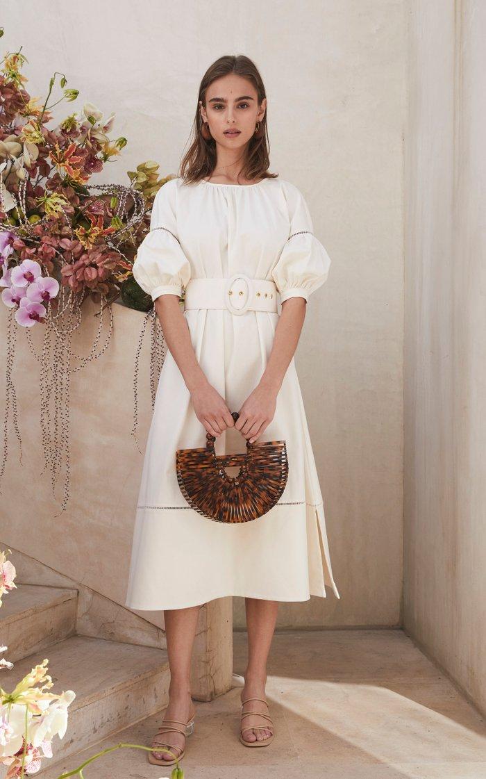 Aiko Gathered Belted Linen-Blend Midi Dress