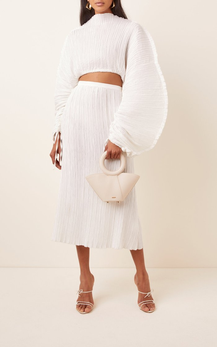 Scarlett Plissé-Satin Midi Skirt