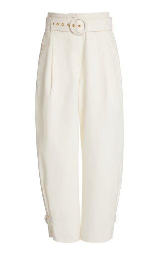 Derah Belted Wide-Leg Cotton-Blend Pants