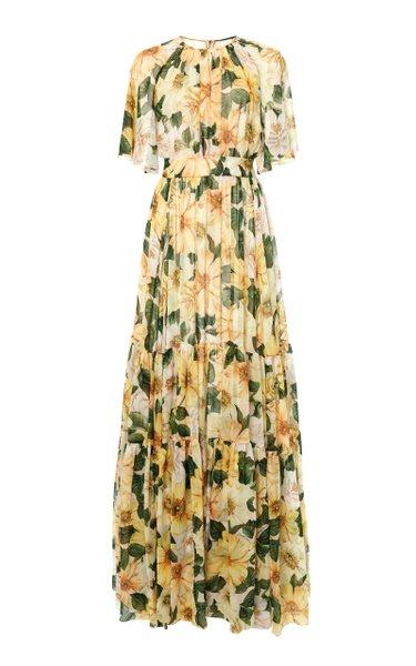 Camellia-Print Silk Chiffon Maxi Dress